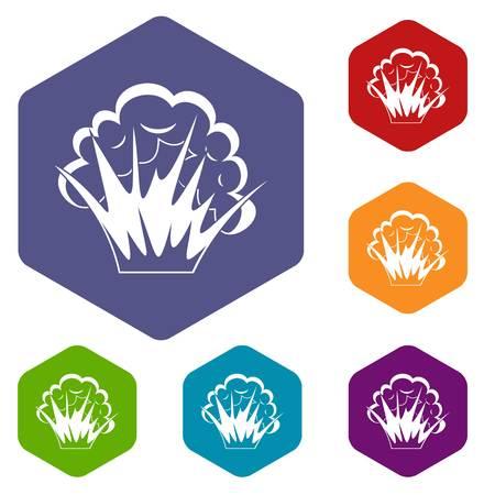atomic bomb: Flame and smoke icons set hexagon isolated vector illustration