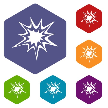 Heavy explosion icons set hexagon isolated vector illustration