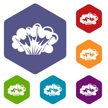 atomic bomb: High powered explosion icons set hexagon isolated vector illustration