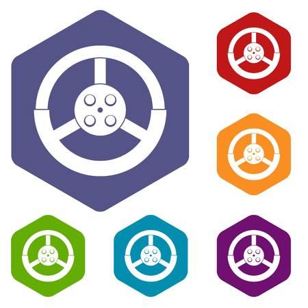 Steering wheel icons set hexagon isolated vector illustration