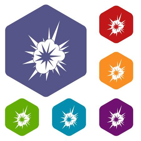 atomic symbol: Nucleate explosion icons set hexagon isolated vector illustration