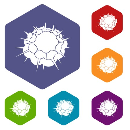 atomic symbol: Atomic explosion icons set hexagon isolated vector illustration