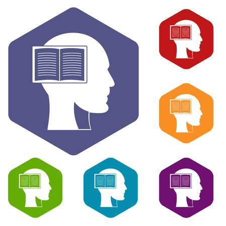 Head with open book icons set hexagon isolated vector illustration