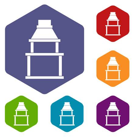 BBQ grill icons set hexagon isolated vector illustration