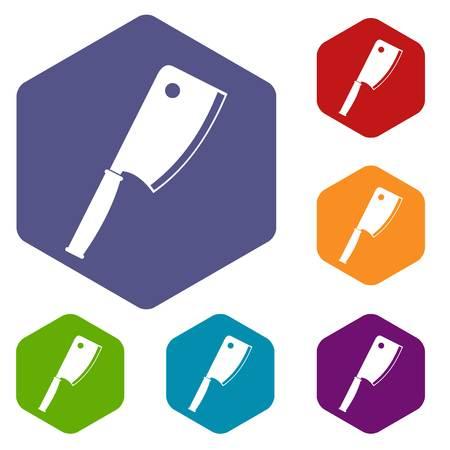 Meat knife icons set hexagon isolated vector illustration Illustration