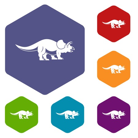 Styracosaurus icons set hexagon isolated vector illustration