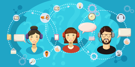 customer support: Call center touch banner horizontal, cartoon style