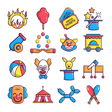 Circus icons set, cartoon style