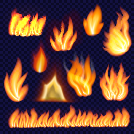Fire forms isolated set, realistic style Illustration