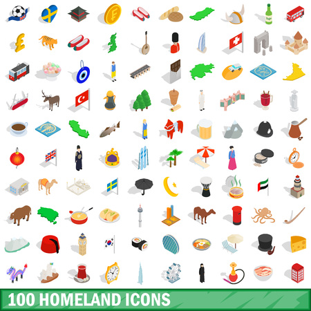 100 homeland icons set in isometric 3d style for any design vector illustration