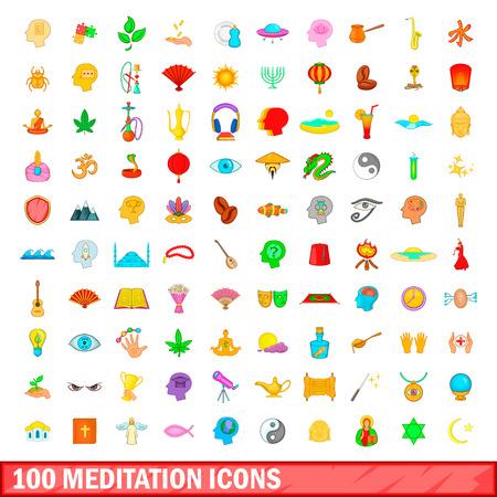 100 meditation icons set, cartoon style Illustration