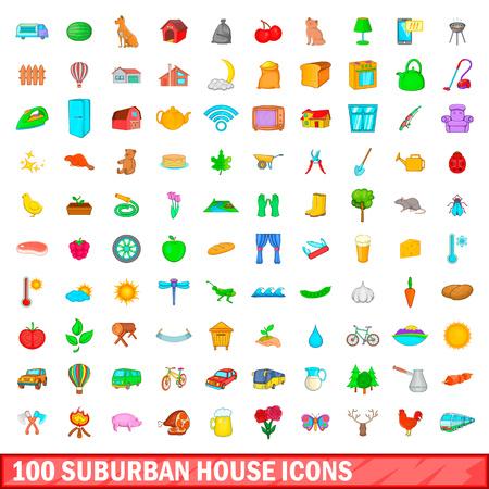 100 suburban house icons set, cartoon style Illustration