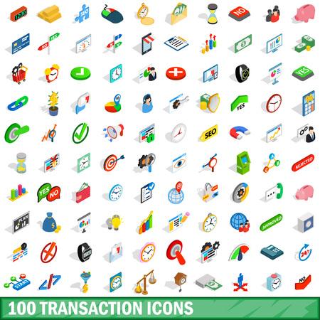 100 transaction icons set, isometric 3d style