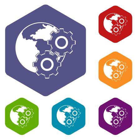 World planet and gears icons set hexagon Illustration