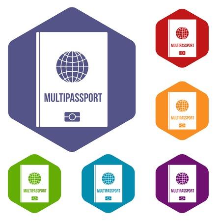airway: Multipassport icons set hexagon