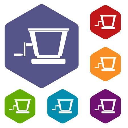 squeezer: Old grape juicer icons set hexagon Illustration