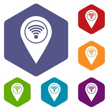 Map pin pointer with wi fi symbol icons set