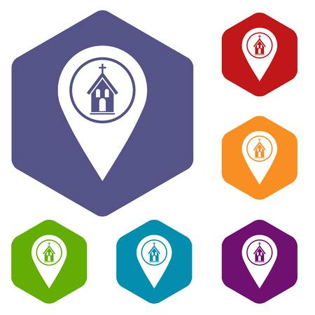 Map pointer with church icons set hexagon Illustration