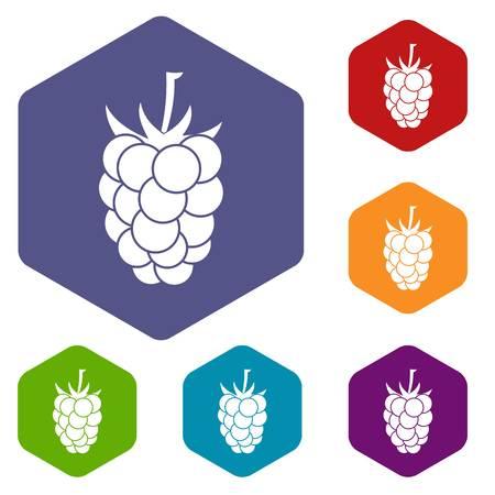 dewberry: Blackberry fruit icons set hexagon isolated vector illustration