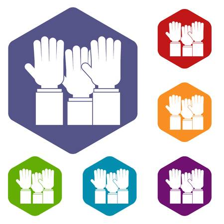 crowd happy people: Different people hands raised up icons set hexagon isolated vector illustration Illustration