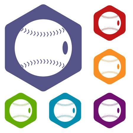 Baseball ball icons set hexagon isolated vector illustration Ilustração