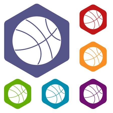 Basketball ball icons set hexagon isolated vector illustration
