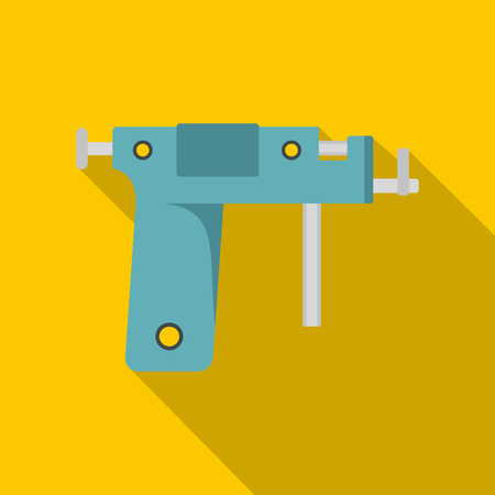 Piercing gun icon. Flat illustration of piercing gun vector icon for web on yellow background Illustration