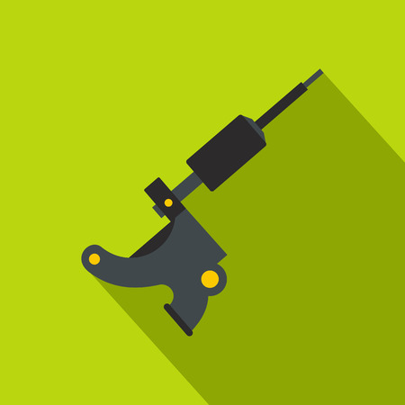 Coil tattoo machine icon. Flat illustration of coil tattoo machine vector icon for web on lime background