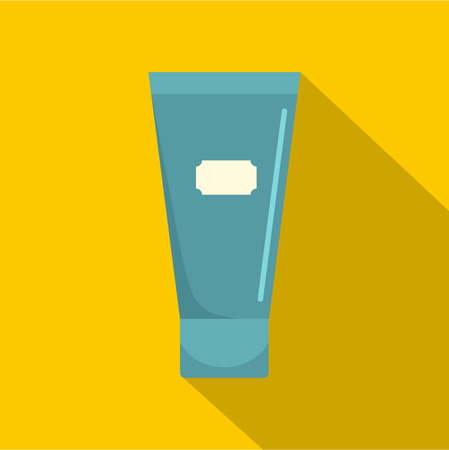 tube top: Blue cosmetic tube of cream or gel icon. Flat illustration of blue cosmetic tube of cream or gel vector icon for web on yellow background Illustration