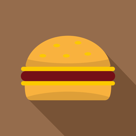 Cheeseburger icon. Flat illustration of cheeseburger vector icon for web on coffee background Illustration