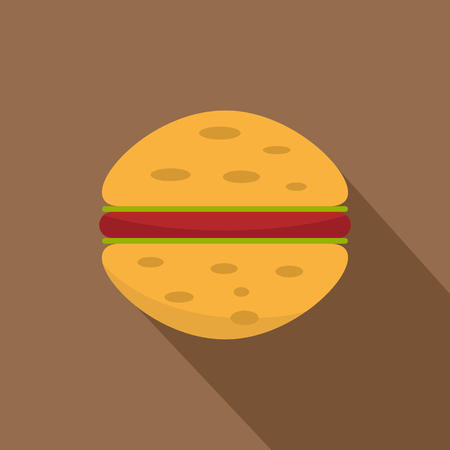 Sandwich with meat patty icon. Flat illustration of sandwich with meat patty vector icon for web on coffee background