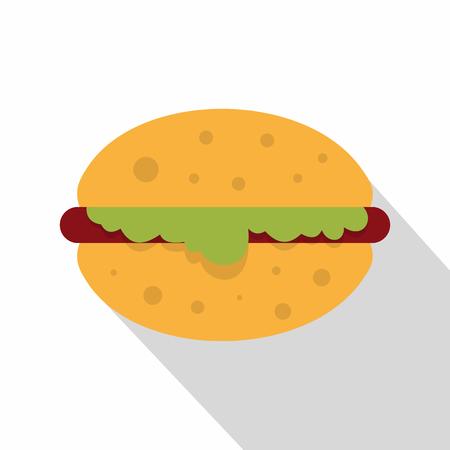 Hamburger with salad icon. Flat illustration of hamburger with salad vector icon for web on white background