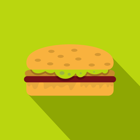 Classic chicken burger icon. Flat illustration of classic chicken burger vector icon for web on lime background