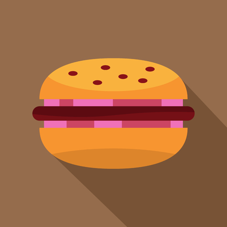 Burger with red onion, meat patty and bun icon. Flat illustration of burger with red onion, meat patty and bun vector icon for web on coffee background Illustration