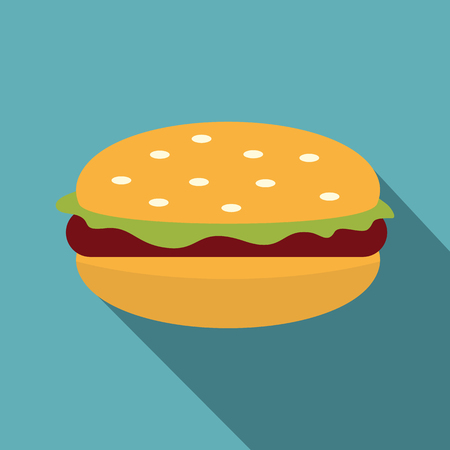 Burger with lettuce, meat patty and bun with sesame seeds icon. Flat illustration of burger with lettuce, meat patty and bun with sesame seeds vector icon for web on baby blue background Illustration