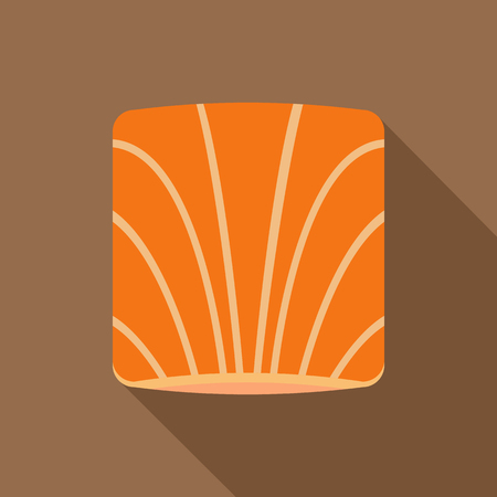 salmon fillet: Piece of salmon icon. Flat illustration of piece of salmon vector icon for web on coffee background Illustration
