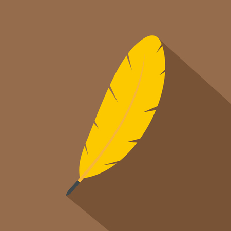 Yellow feather pen icon. Flat illustration of yellow feather pen vector icon for web on coffee background