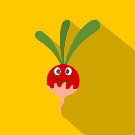 Fresh smiling radish icon. Flat illustration of fresh smiling radish vector icon for web on yellow background Illustration