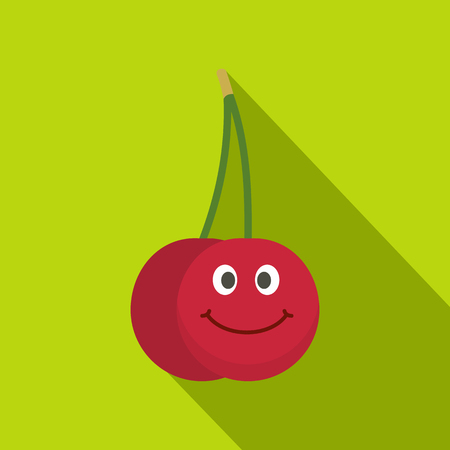 Ripe smiling cherry icon. Flat illustration of ripe smiling cherry vector icon for web on lime background
