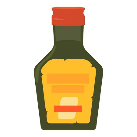 Green glass bottke of medicine syrup icon. Cartoon illustration of green glass bottke of medicine syrup vector icon for web