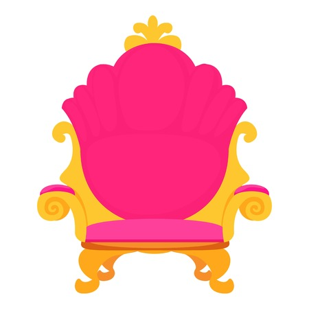 padded stool: Pink royal princess throne icon. Cartoon illustration of pink royal princess throne vector icon for web Illustration