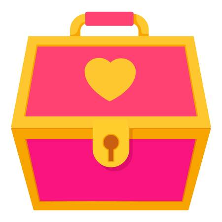 toy chest: Pink treasure chest for a princess icon. Cartoon illustration of pink treasure chest for a princess vector icon for web