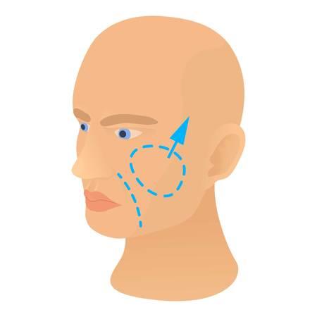 Cheek plastic correction icon. Cartoon illustration of cheek plastic correction vector icon for web Illustration