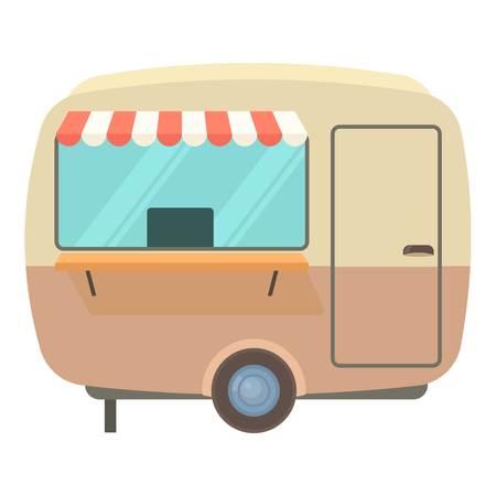 food: Street food trailer icon. Cartoon illustration of street food trailer vector icon for web Illustration