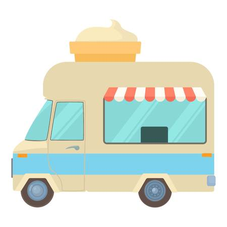 Mobile shop truck with big ice cream cup icon. Cartoon illustration of mobile shop truck with big ice cream cup i vector icon for web Ilustração