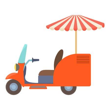 Fast food trolley motorbike icon. Cartoon illustration of fast food trolley motorbike vector icon for web