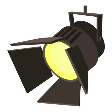 映画や演劇の spotlight アイコン。Web の映画または劇場のスポット ライト ベクトル アイコンの漫画イラスト