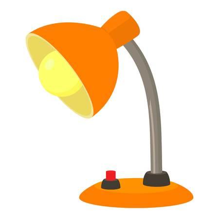 Orange desk lamp icon. Cartoon illustration of orange desk lamp vector icon for web