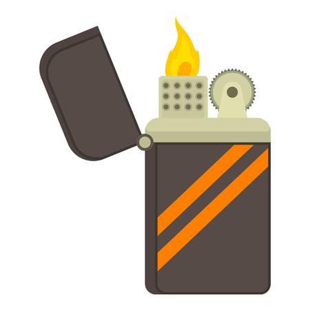 gas lighter: Cgarette lighter icon. Cartoon illustration of cigarette lighter vector icon for web