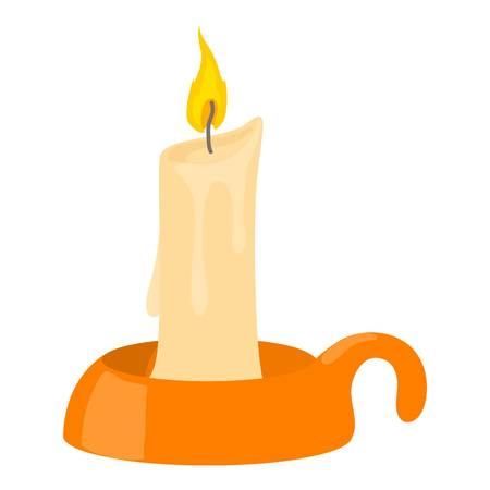 glaring: Burning candle in candlestick icon. Cartoon illustration of burning candle in candlestick vector icon for web